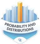 Illustration of the Probability and Distributions badge