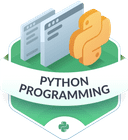 Illustration of the Python Programming badge