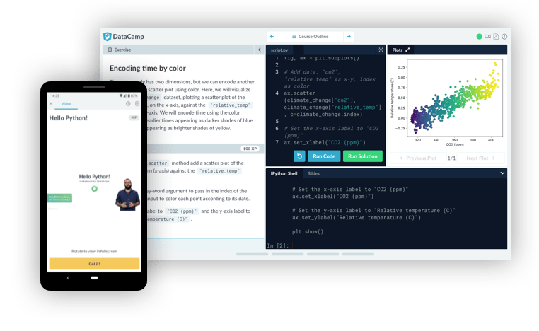 Learn data science online with DataCamp's interactive courses