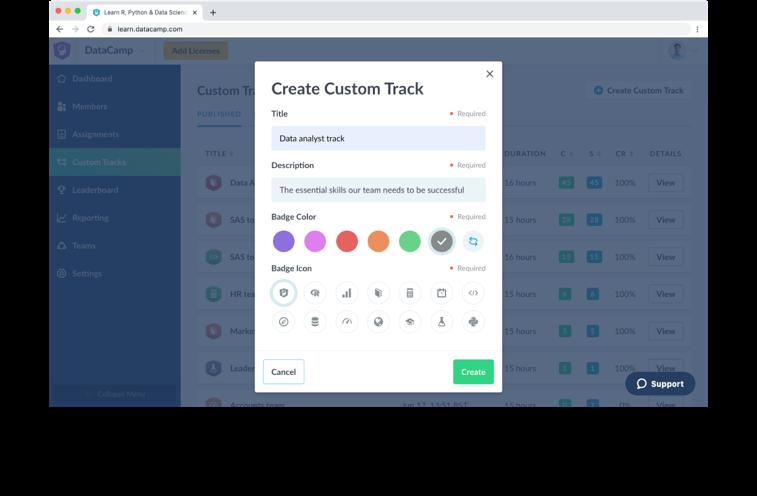 Screenshot of a custom track UI