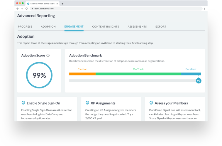 Screenshot of the advanced reporting UI